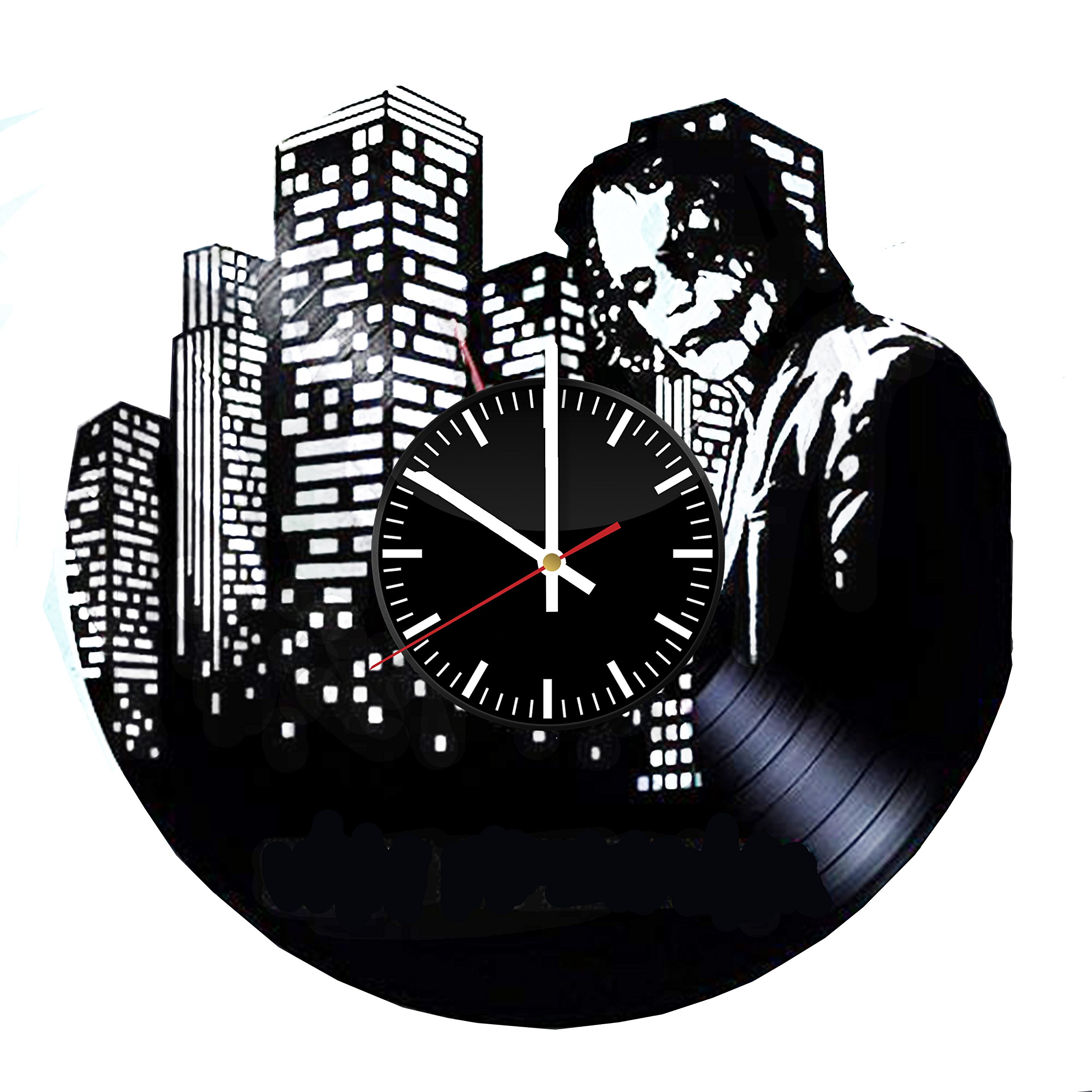 Welcome Everyday Arts Dark Knight Joker Vinyl Record Wall Clock - Get unique home room wall decor - Gift ideas for parents, siblings, teens – DC Comics Unique Design