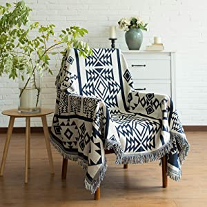 Aztec Boho Decor Throw Blanket - Cotton Woven Southwestern Tassels Cozy Reversible Throw Blanket Multi-Function for Couch Chair Sofa Bed Outdoor Travel Camping (Navy Blue&White, 50