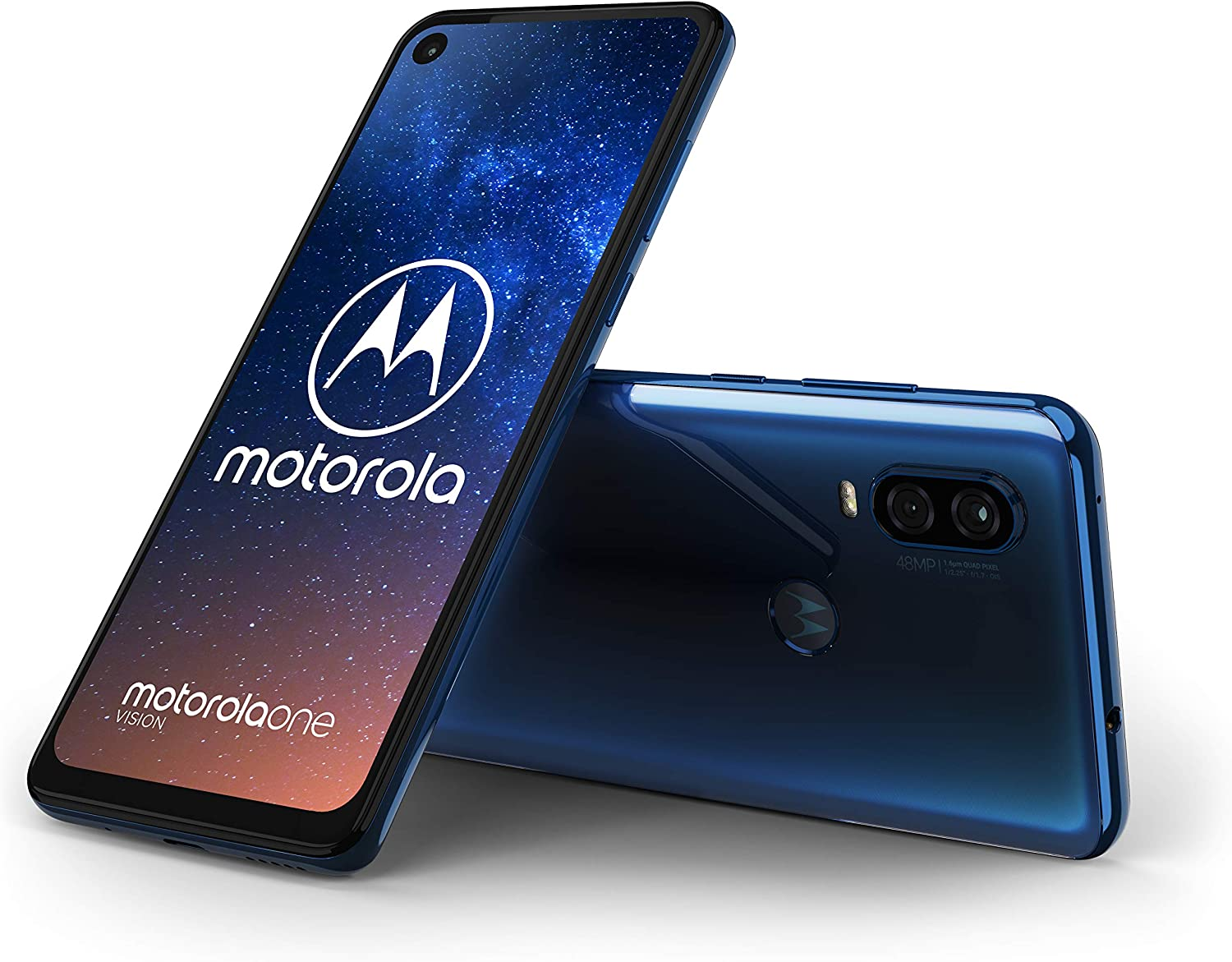 "Motorola moto one vision, 6.3"" CinemaVision FHD+ display, 48Mp sensor with Night vision, UK Sim-Free Smartphone with 4GB RAM and 128GB Storage (Dual Sim) – sapphire blue"