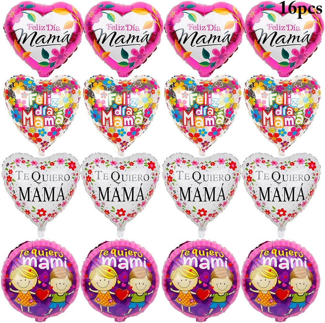 JUSTDOLIFE Mother's Day Party Balloons, 18'' Foil Balloons Party Mylar Balloons Party Balloons for Home Mother's Day Party Decor, 16 Pack