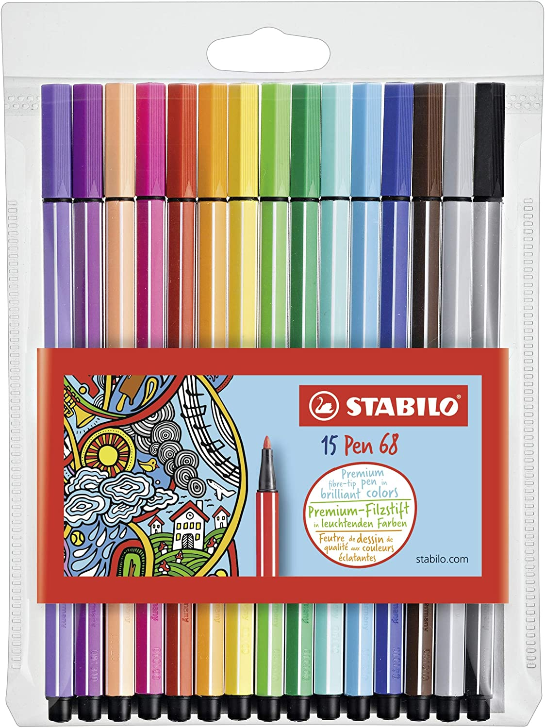 Rotulador STABILO Pen 68 - Estuche con 15 colores: Amazon.es ...