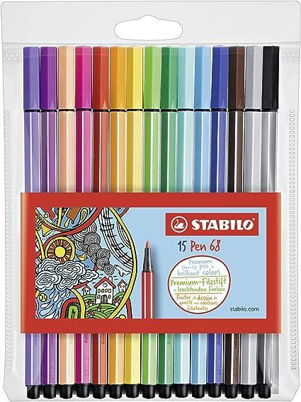 Rotulador STABILO Pen 68 - Estuche con 15 colores: Amazon.es: Oficina y papelería