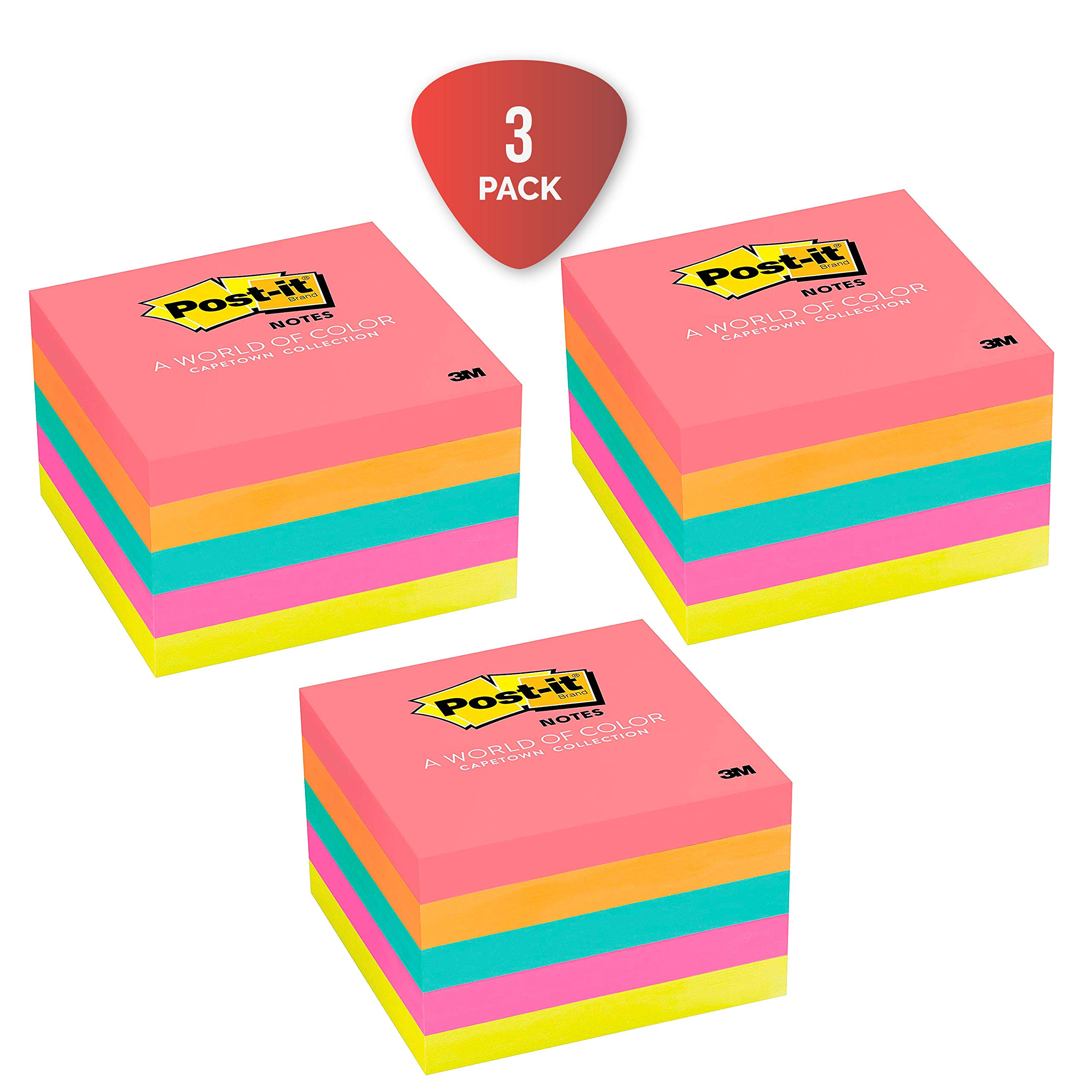 Post-it Notes, 5 Pads, America's #1 Favorite Sticky Note, Call Out Important Information, Cape Town Colors, 3 x 3, 100 Sheets/Pad (654-5PK) Pack of 3 by Post-it