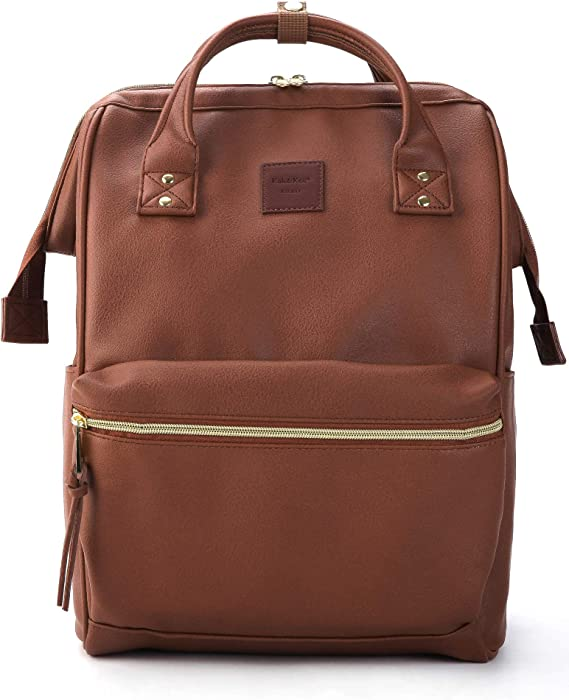 Kah&Kee Leather Backpack Diaper Bag with Laptop Compartment Travel School for Women Man (Brown, Large)