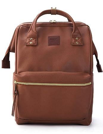 3c65d8472b72d Kah Kee Leder Rucksack Wickeltasche mit Laptopfach Travel School für Damen  (Braun