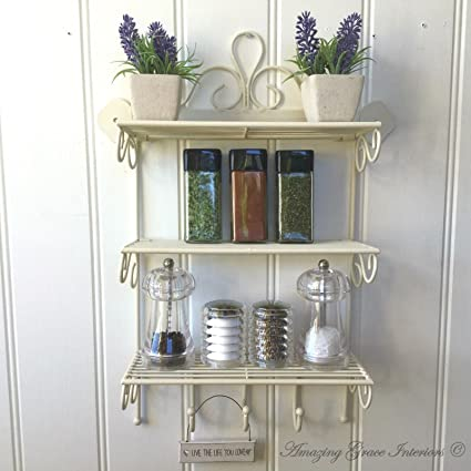 wall mounted Shabby Chic Kitchen Roll Holder//Spice rack Hand made,decorated