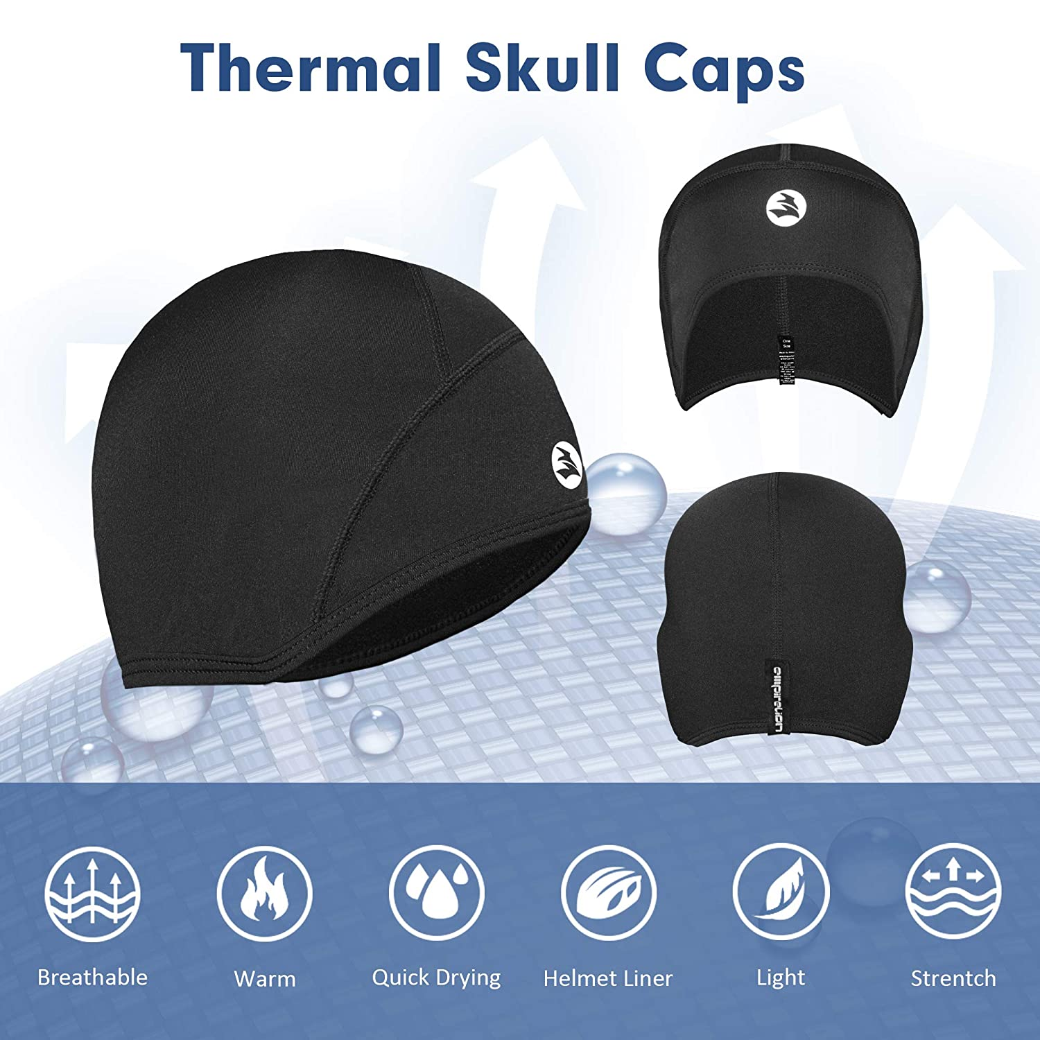 a54260e9a5e Empirelion Thermal Running Hats Cover Ears Skull Cap Cycling Helmet Liner  Beanie Unisex (Black)  Amazon.co.uk  Sports   Outdoors