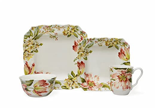 Christmas Tablescape Decor - Ellis 16-Piece red ruffle tulip floral dinnerware set