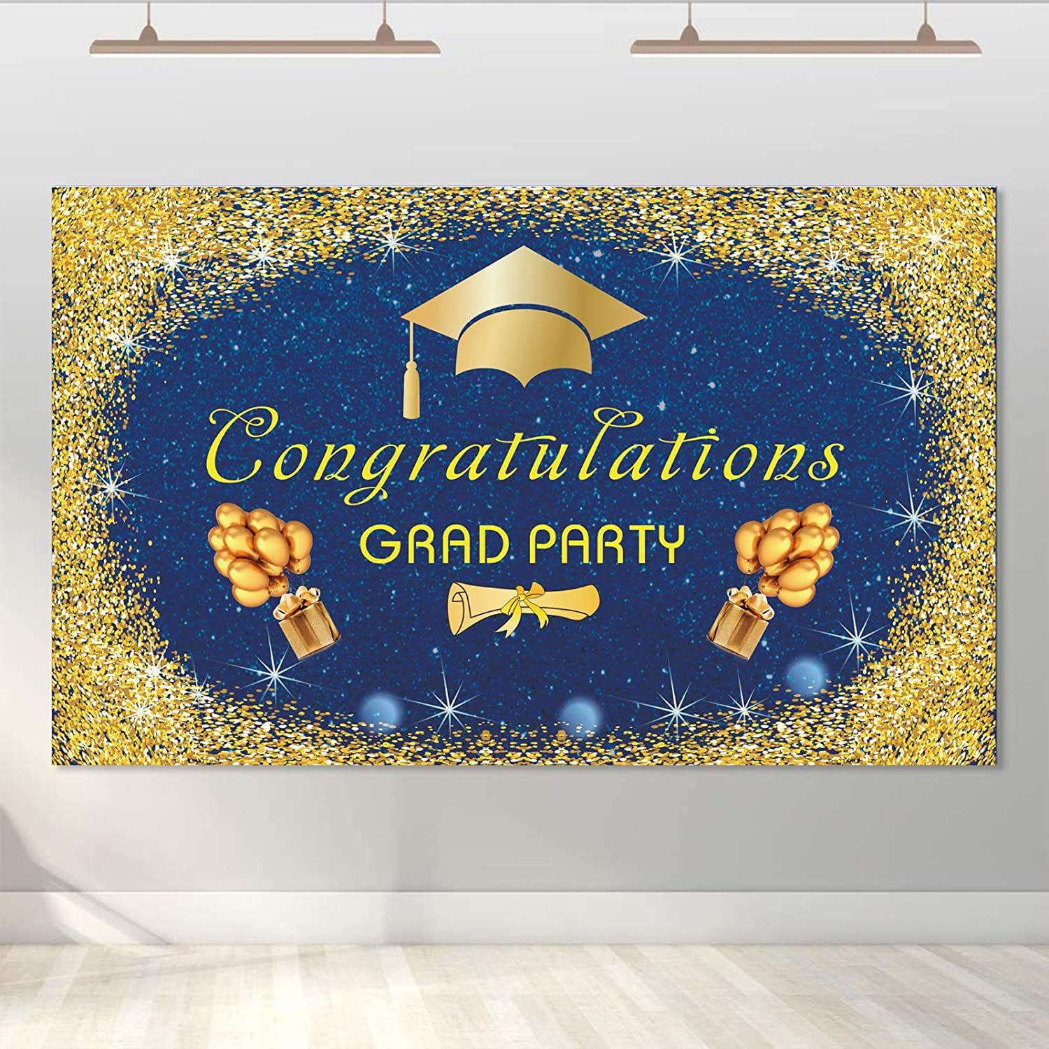 WENWELL Gold and Royal Blue Congrats Graduation Backdrop Decorations for Photography,Bachelor Cap Diploma Sign Banner Class of 2021 Party Photo Props Supplies,Grad Background Prom Decor