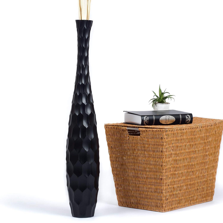 Leewadee Tall Big Floor Standing Vase For Home Decor, 5x30 inches, Wood, black
