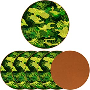 Beverage Coaster - Green Marijuana Leaf Camouflage Ceramic Drinks Coasters with Leather, 6 Pieces Sets