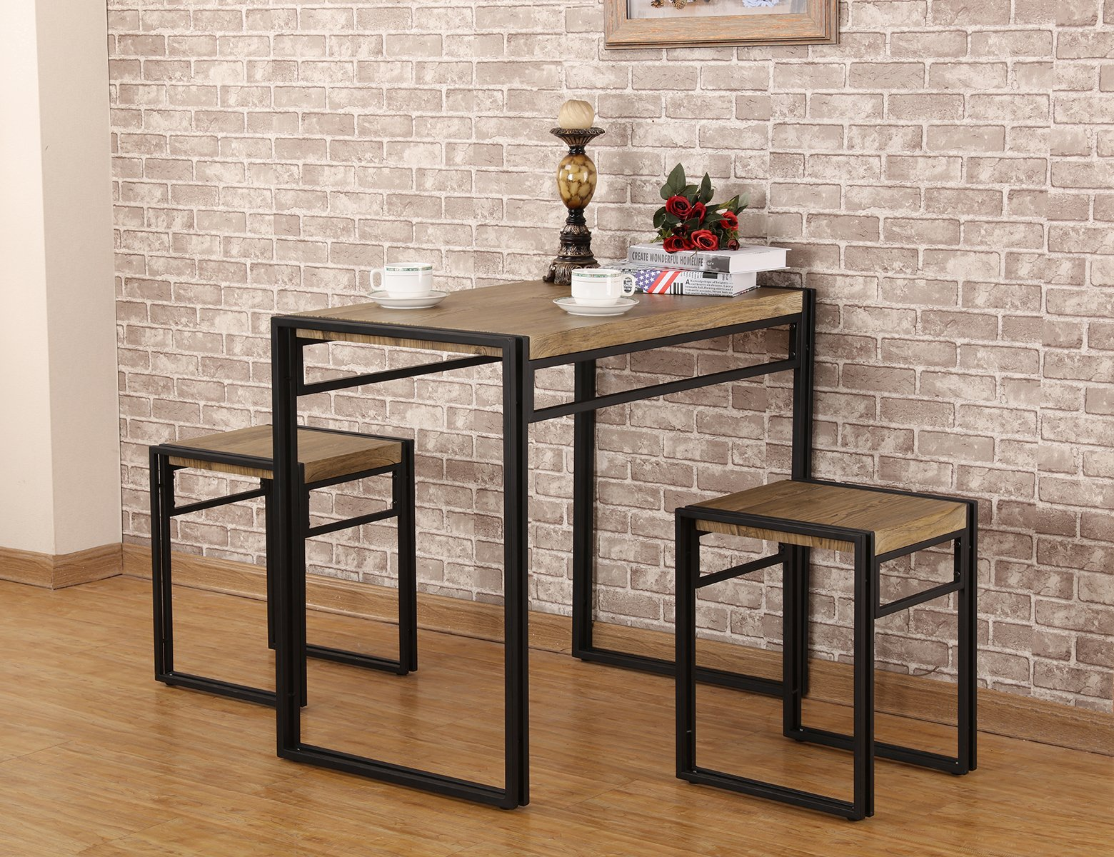 FIVEGIVEN 3 Piece Dining Set Small Kitchen Table Set for 2 ...