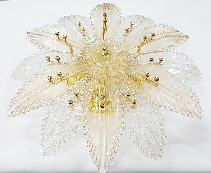 Plafoniera Per Bagno Murano : Zonca plafoniera in cristallo di murano a foglie bianco e oro