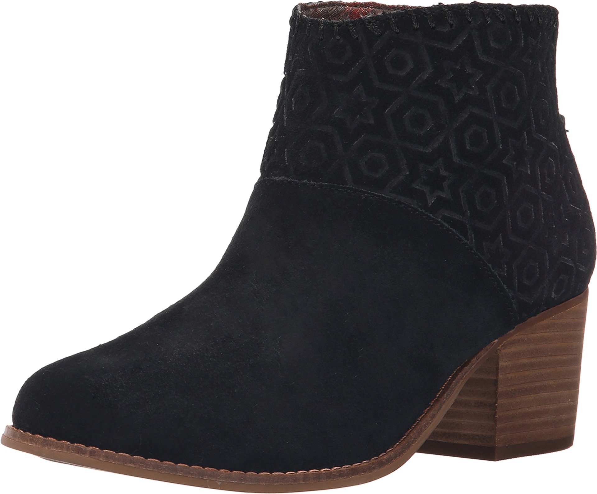 Toms Leila Bootie Black Suede Embossed 10007574 Womens 9.5 by TOMS