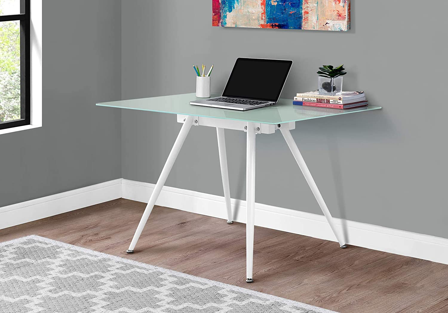 8th Street Living I 1032 Tempered Glass Computer Desk - Frosted Glass Top Office Desk - White (48 Inch L)