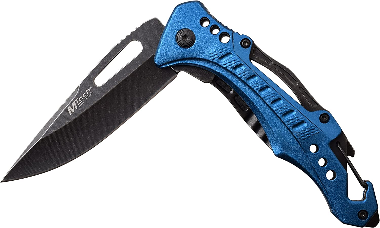 Blue//Silver MTech Plain Blade Tactical Hunting Spring Assisted Pocketknife