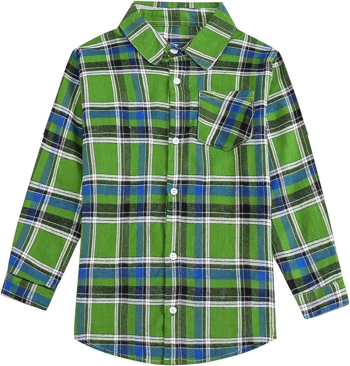 SANGTREE Girls' Women's Button Down Plaid Cotton Tops Shirt, 3 Months - US 2XL