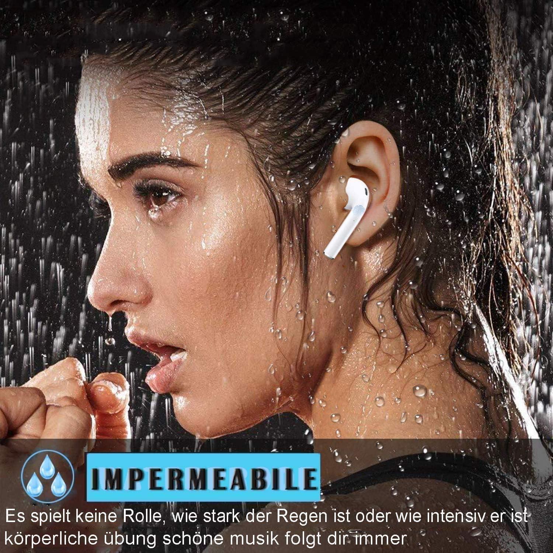 IPX5 a Prueba de Sudor Auricular Bluetooth 5.0 Emparejamiento autom/ático reducci/ón del Ruido est/éreo 3D HD Auricular inal/ámbrico micr/ófono y Caja de Carga incorporados