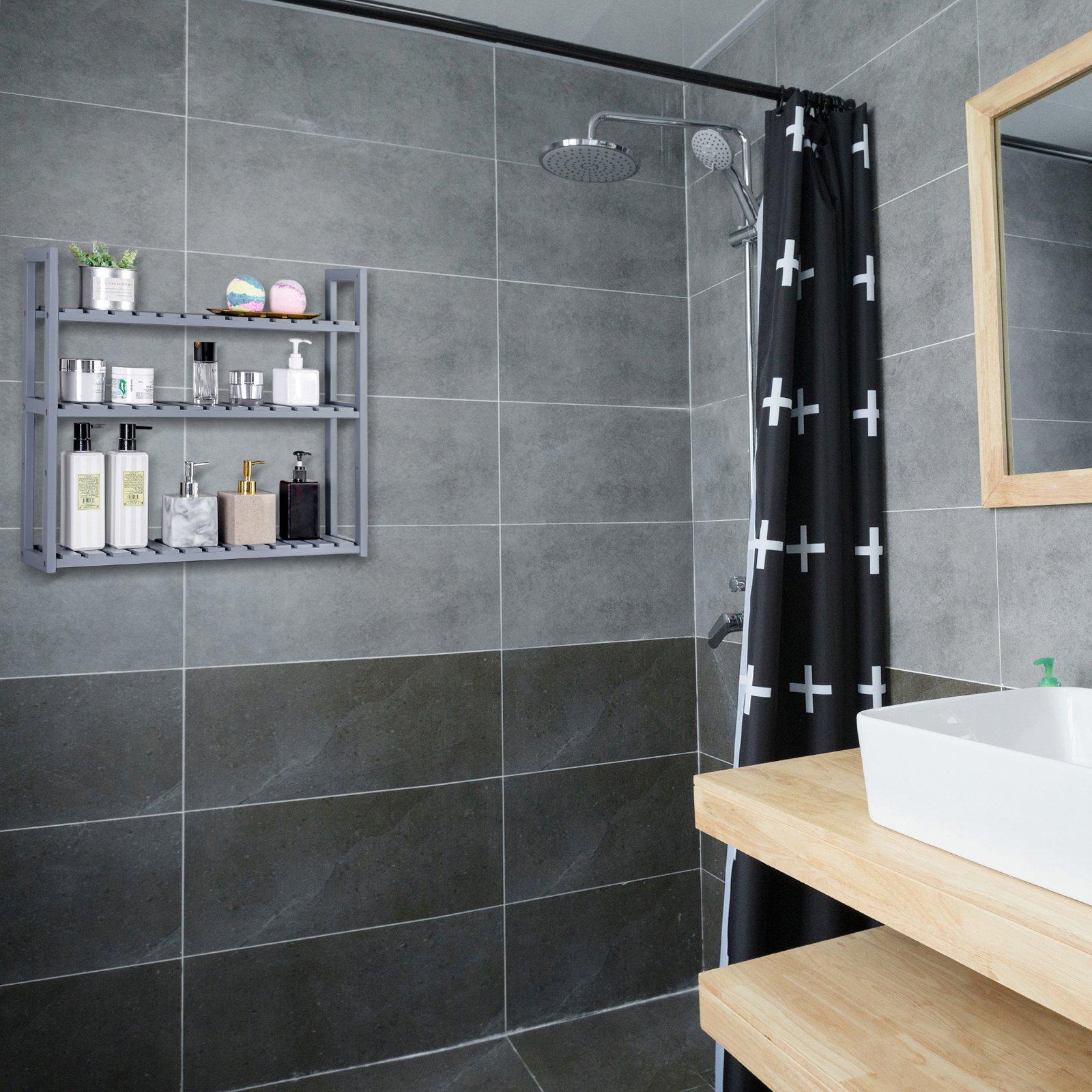 SONGMICS Wall Mounted 3-Tier Utility Storage Shelf Rack Bamboo Wood Adjustable layer Bathroom Towel Shelf Multifunctional Kitchen Living Room Holder Grey UBCB13GY by SONGMICS (Image #5)