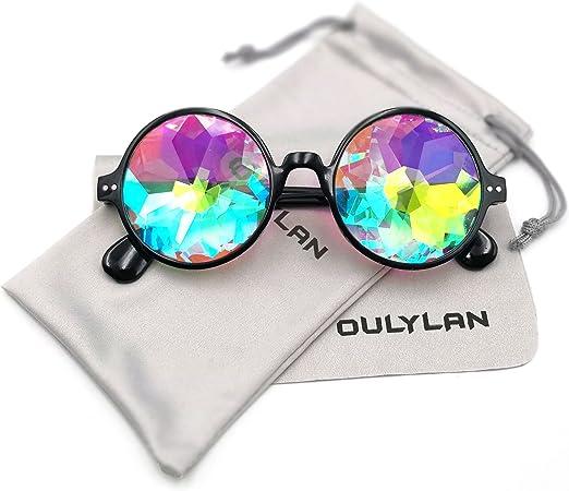 Round Kaleidoscope Glasses Rave Festival Plastic Sunglasses Eyewear Fashion