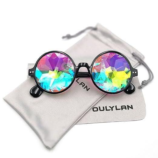bf6182d23236 Round Kaleidoscope Glasses Rainbow Prism Sunglasses for Women Men ...