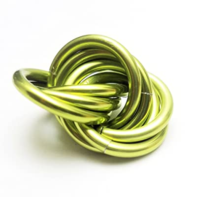 Half Möbii Lime Green: Small Mobius Hand Fidget Toy, Shiny Stress Rings for Restless Hands, Office Toy
