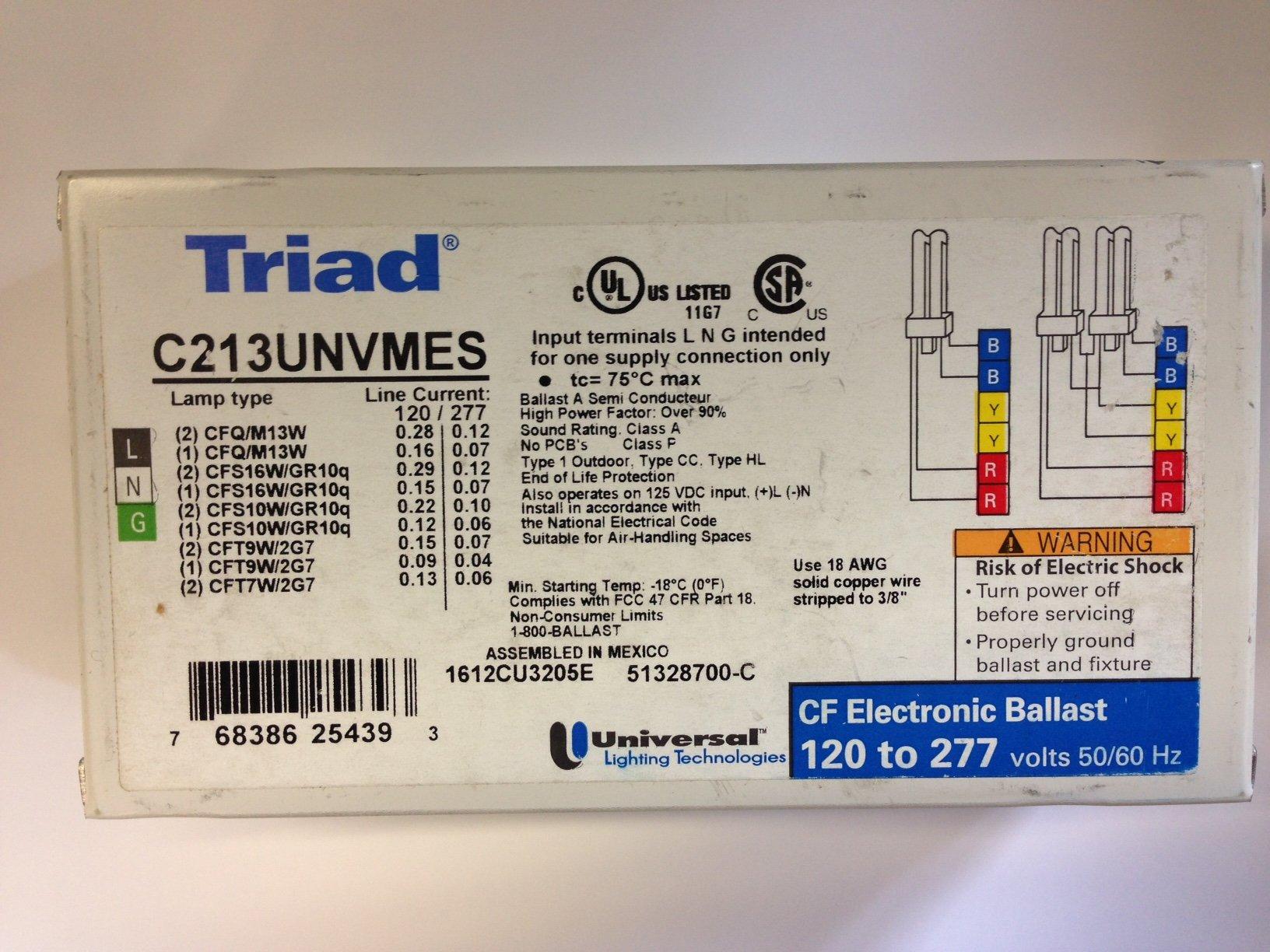 5 PIECES UNIVERSAL TRIAD C213UNVMES 13W CFL BALLAST 120-277V 2L/1L MULTIEXIT/STUDS 4PIN
