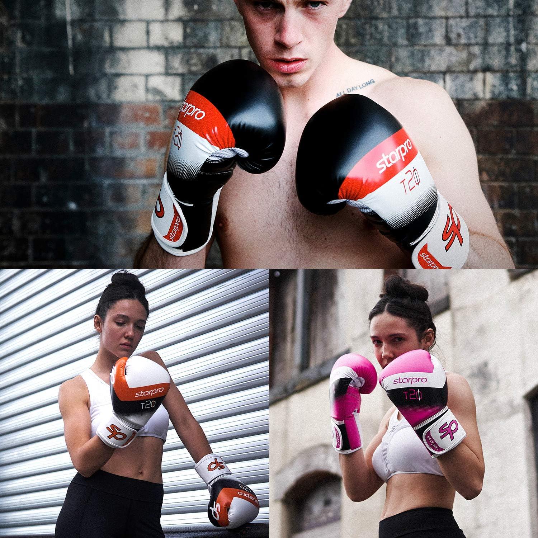 Grappling Rojo Starpro Guantes de Boxeo Muay Thai 10oz 16oz| Hombres y Mujeres 14oz Sparring Rosado 12oz Training |8oz Naranja Azul Azul Marino Ideales para Kickboxing Entrenamiento