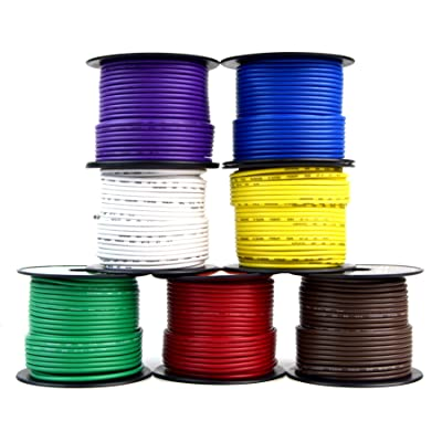 Audiopipe Trailer Light Cable Wiring for Harness 100ft spools 14 Gauge 7 Wire 7 Colors: Automotive