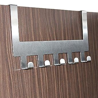 Hokipo Over The Door 5 Stainless Steel Hook Organizer Hanging Rack, Towel & Coat Hanger