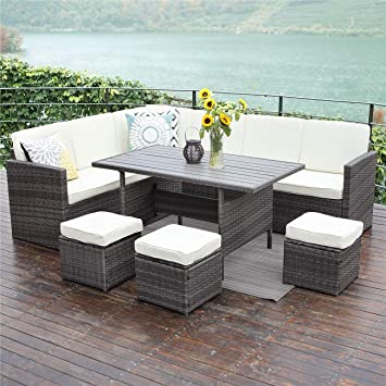 Wisteria Lane Outdoor Patio Furniture Set,10 PCS Sectional Conversation Set All Weather Wicker Sofa Table Chair Stool,Grey