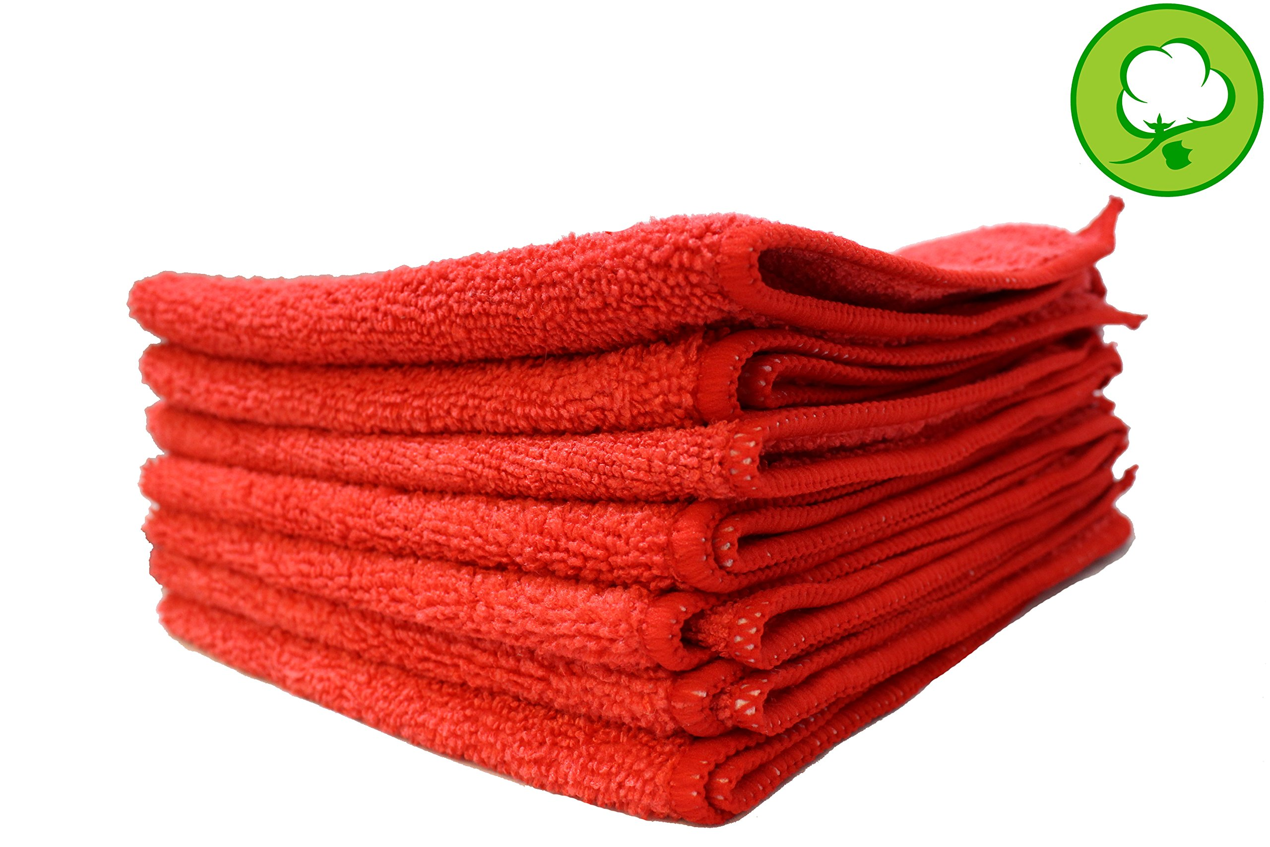Red Plush Thick 16''X16'' Microfiber Cleaning Towels- 24 PK
