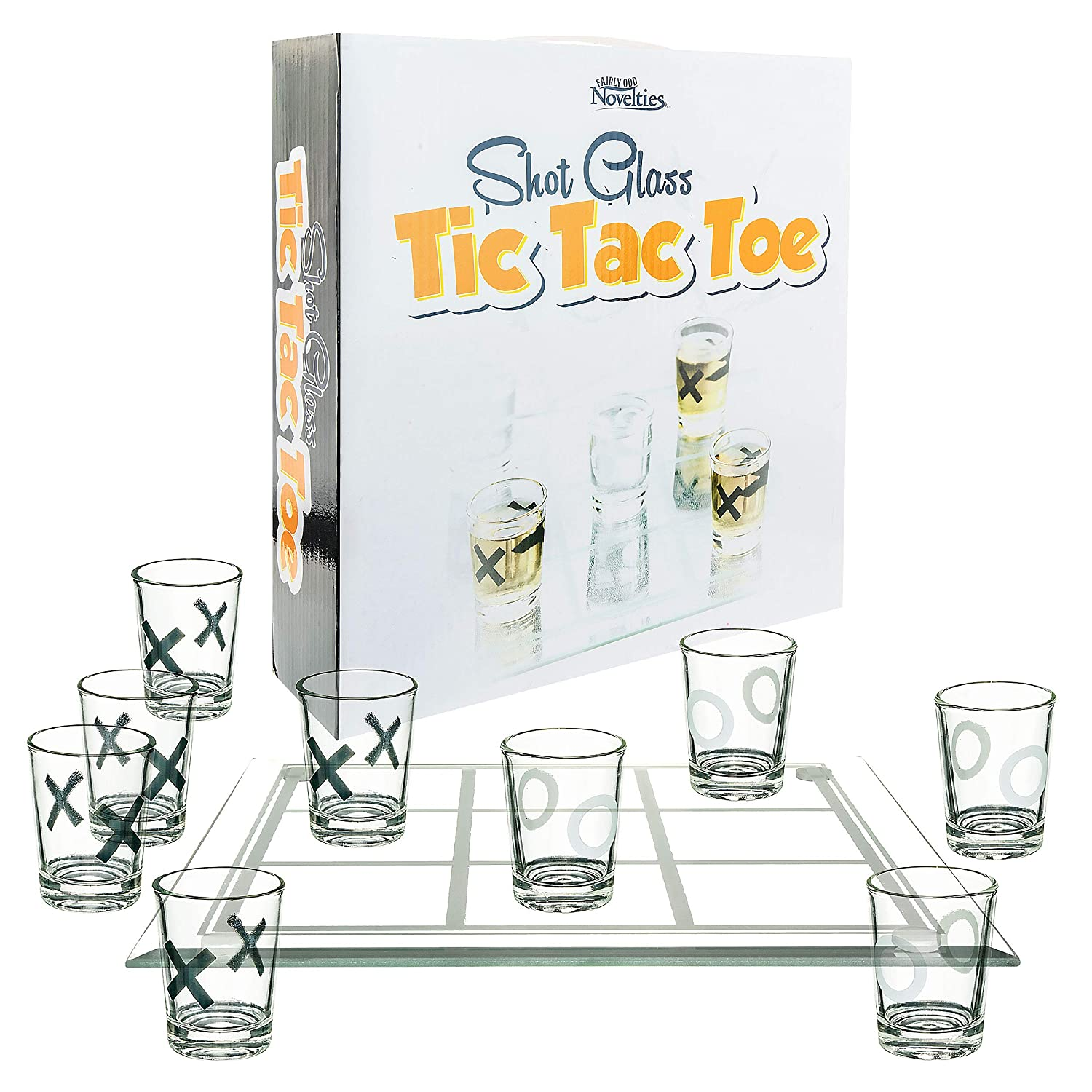 Fairly Odd Novelties SHOT GLASS TIC TAC TOE - Fun Drinking Board Game for Two or Couples Drinking Game Gag White Elephant Gift Party Games FON-10182
