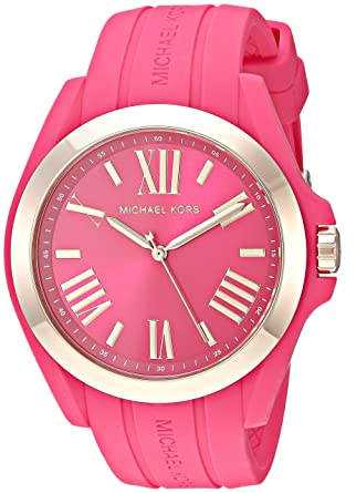 Michael Kors Womens Bradshaw Quartz Silicone Strap, Pink, 0 Casual Watch (Model: