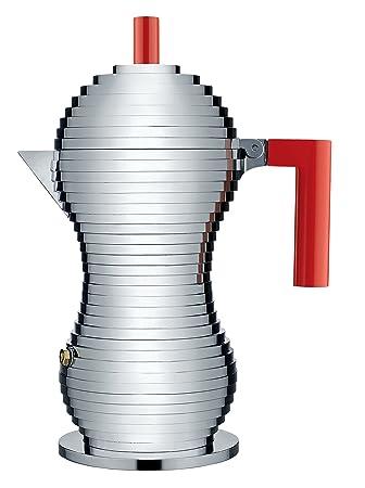 Alessi Pulcina MDL02/6 R Cafetera de Diseño en Fundición, Aluminio y PA, Rojo, 6 tazas