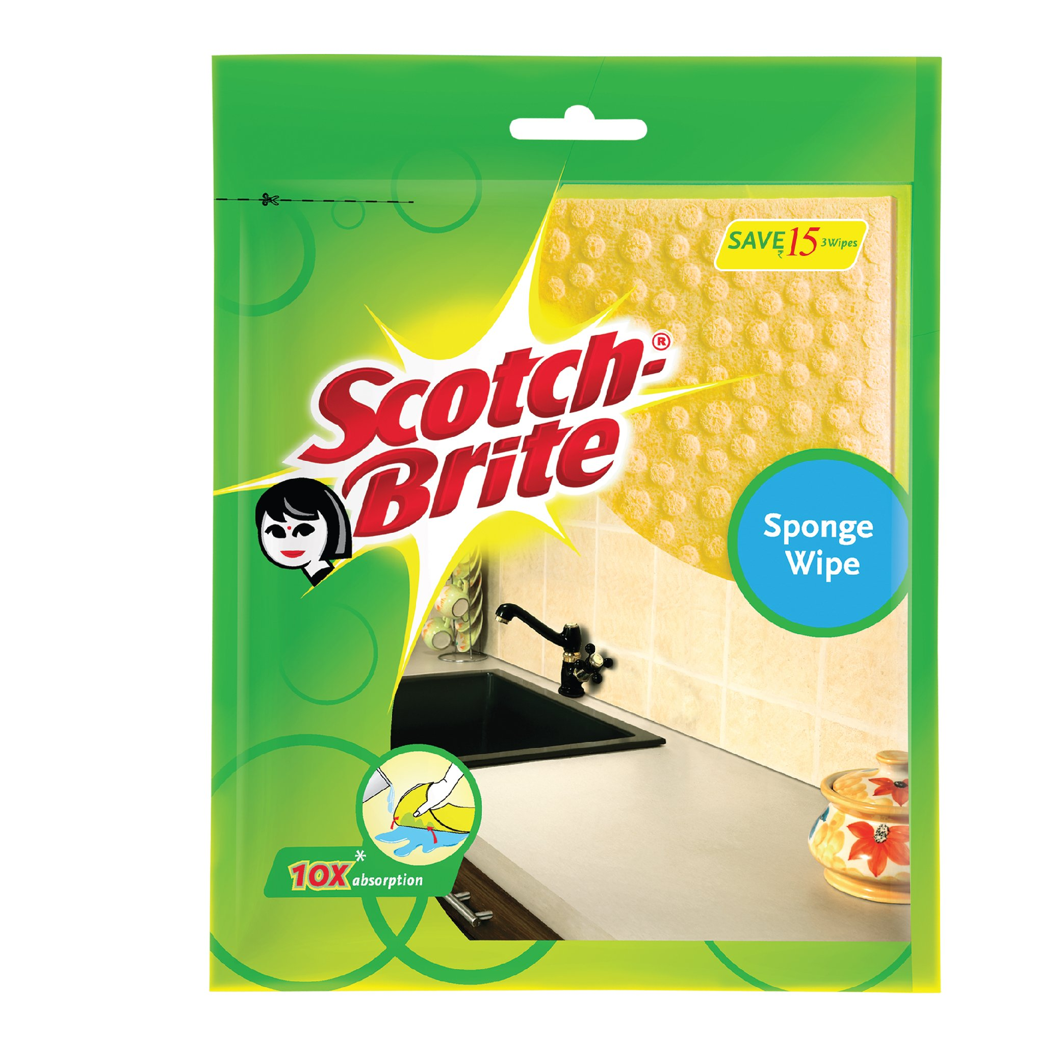 Scotch-Brite Sponge Wipe, Pack of 3 (Color May Vary) product image