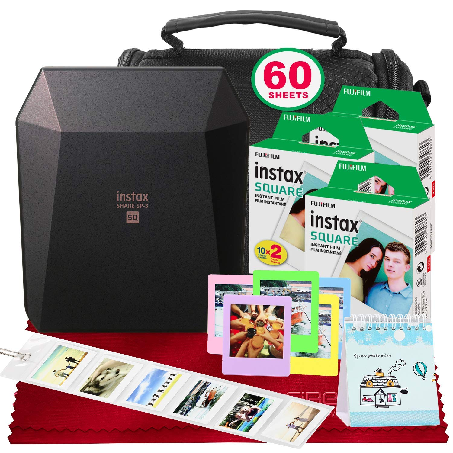 Fujifilm Instax Share SP-3 Smartphone Printer (Black) with 60 Sheets of Instant Square Film with Platinum Bundle (USA Warrantty) by Fujifilm