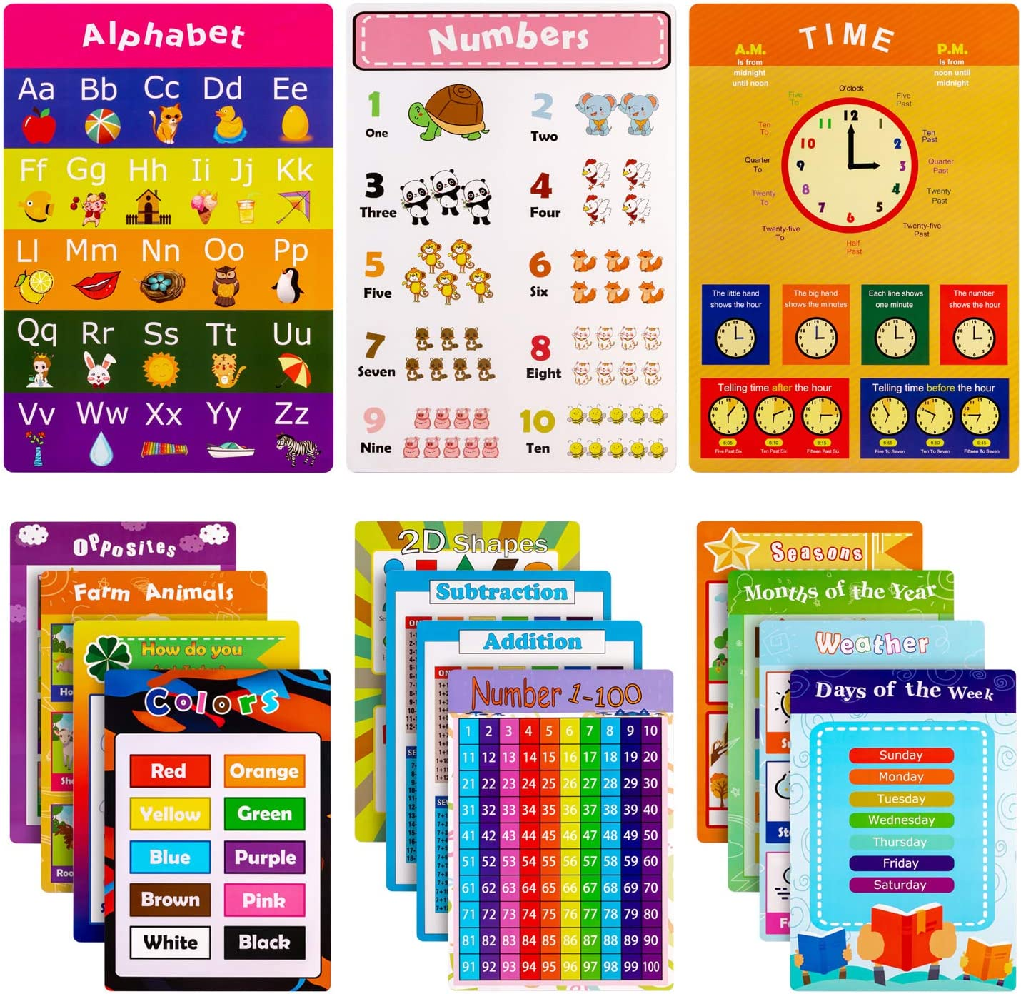 15 Pieces Educational Posters for Kids Preschool Learning with Glue Point Dot for Nursery Homeschool Kindergarten Classroom - Numbers Alphabet Days Time Colors and More, 16 x 11 Inch