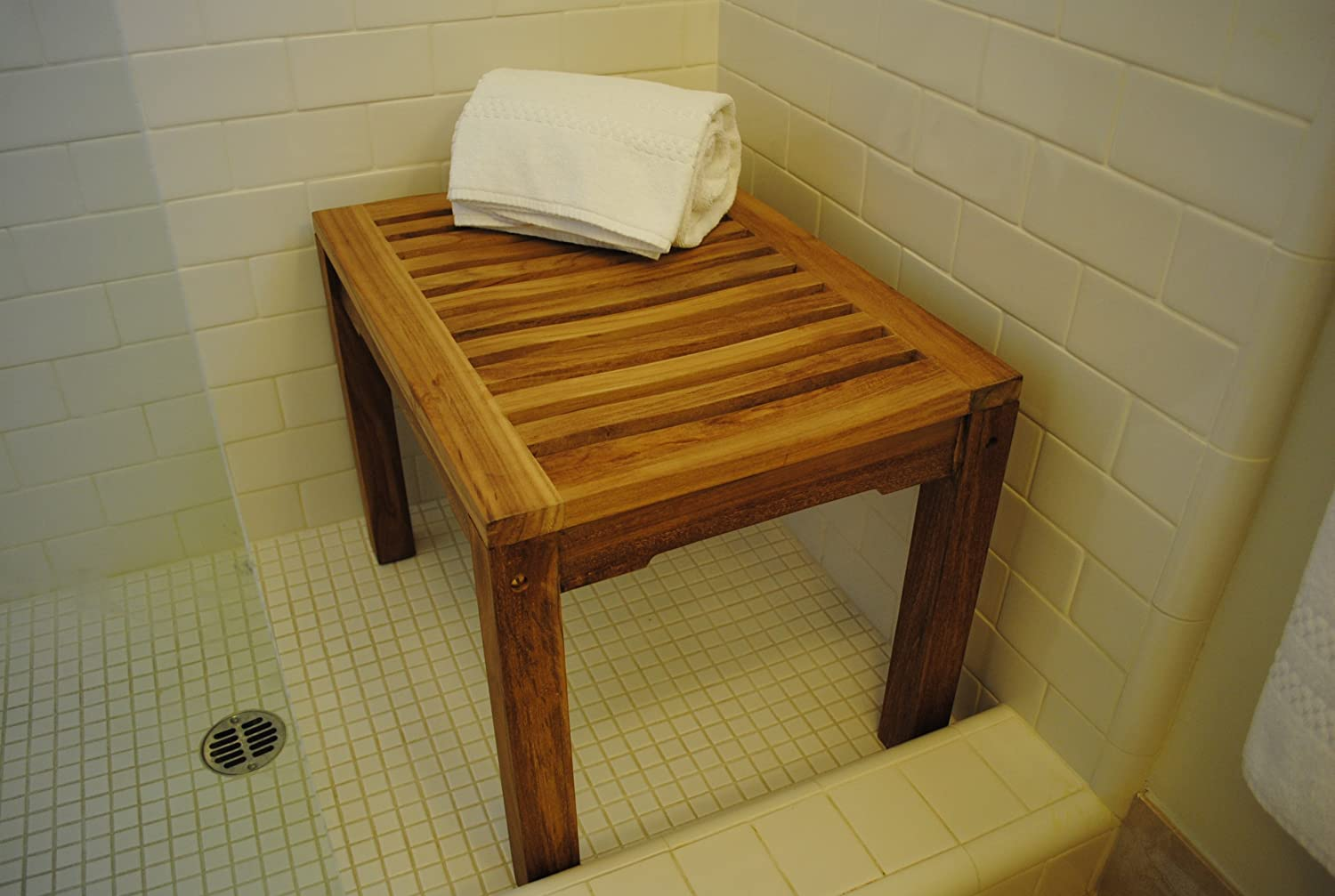 Amazon.com: New Grade A Teak Shower Bench - Sauna or Steamroom Stool ...