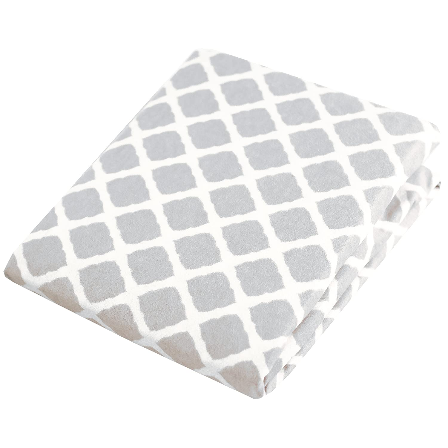 Kushies Changing Pad Cover for 1 pad, 100% breathable cotton, Made in Canada, Grey Lattice Kushies Baby S340-587