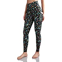 ODODOS Women's Out Pockets High Waisted Pattern Yoga Leggings, Workout Sports Running Athletic Print Pants