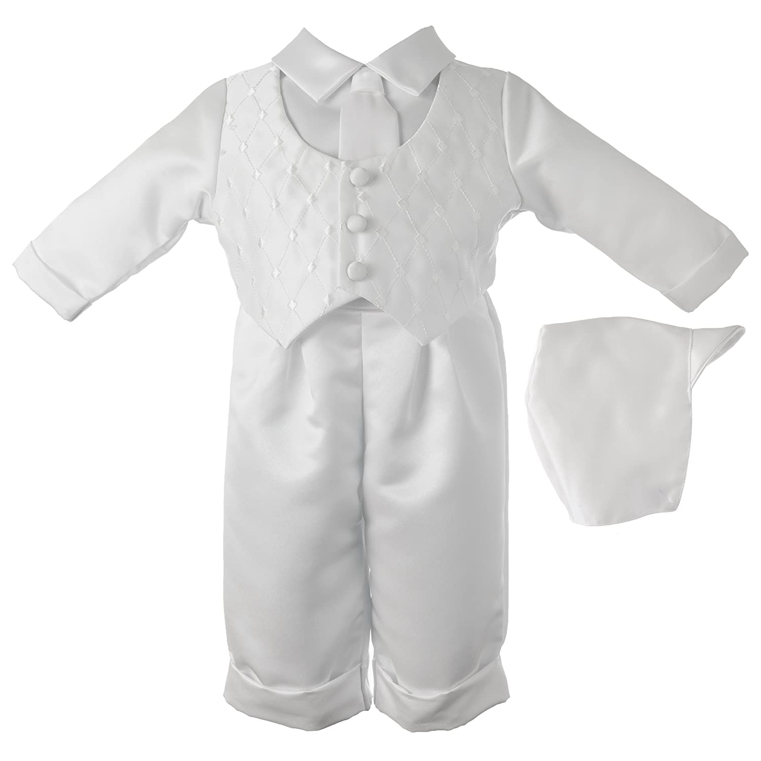 Lauren Madison Baby-Boys Newborn Christening Baptism Satin Long Pant Outfit Set 1451