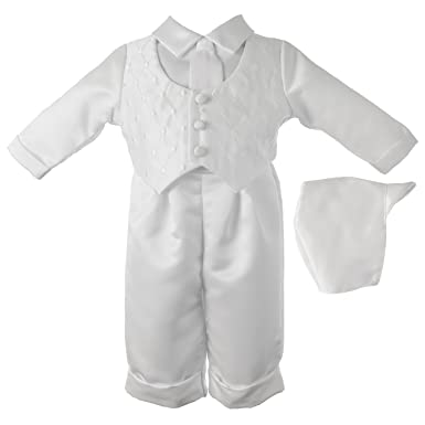 58c6da04897 Amazon.com  Lauren Madison Baby-Boys Newborn Christening Baptism Satin Long  Pant Outfit Set  Clothing