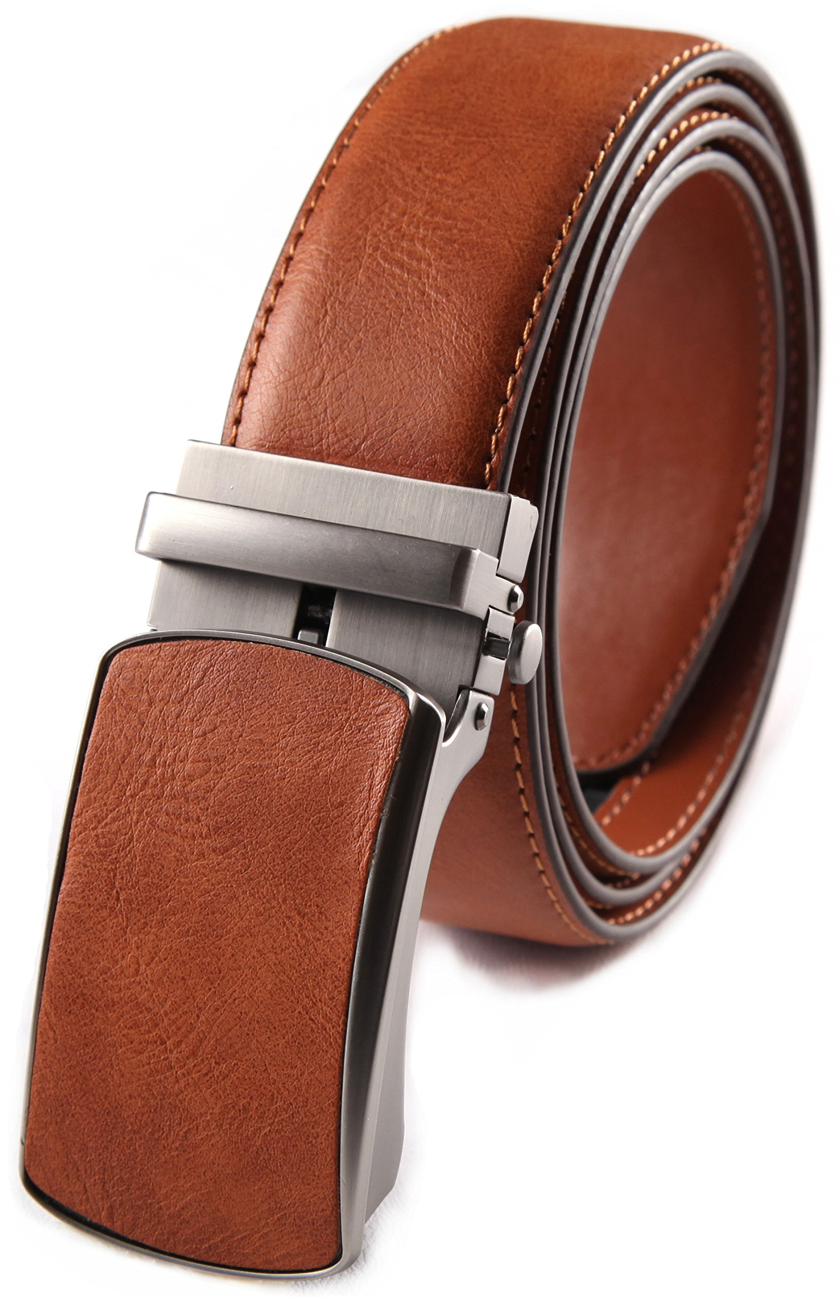wedding belt for man, Men's Classic Dress Leather Slide Belt with Auto Lock Click Buckle (32/34, #3 Cognac)