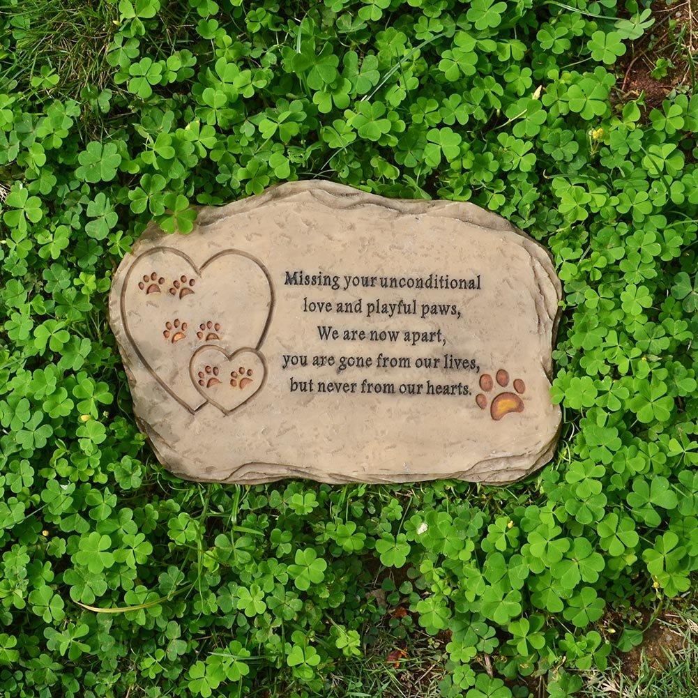 Petcabe Paw Print Mémoires de chien & Tombstones, Polyresin gravé au laser Pierre commémorative d'animal familier, plaques de chien et de chat à la mémoire de chien et chat, dispose d'un cadre photo et un poème de sympathie - intérieur extérieur chien
