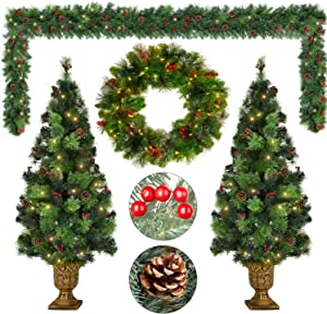 MIERES Prelit Artificial Christmas 4 Pieces Tree Set | Wreath, Entrance Trees&Garlands-Pine Cones, Red Berries, Pre-Strung 180 Warm White LED Lights, Ideal for Home & Outdoor