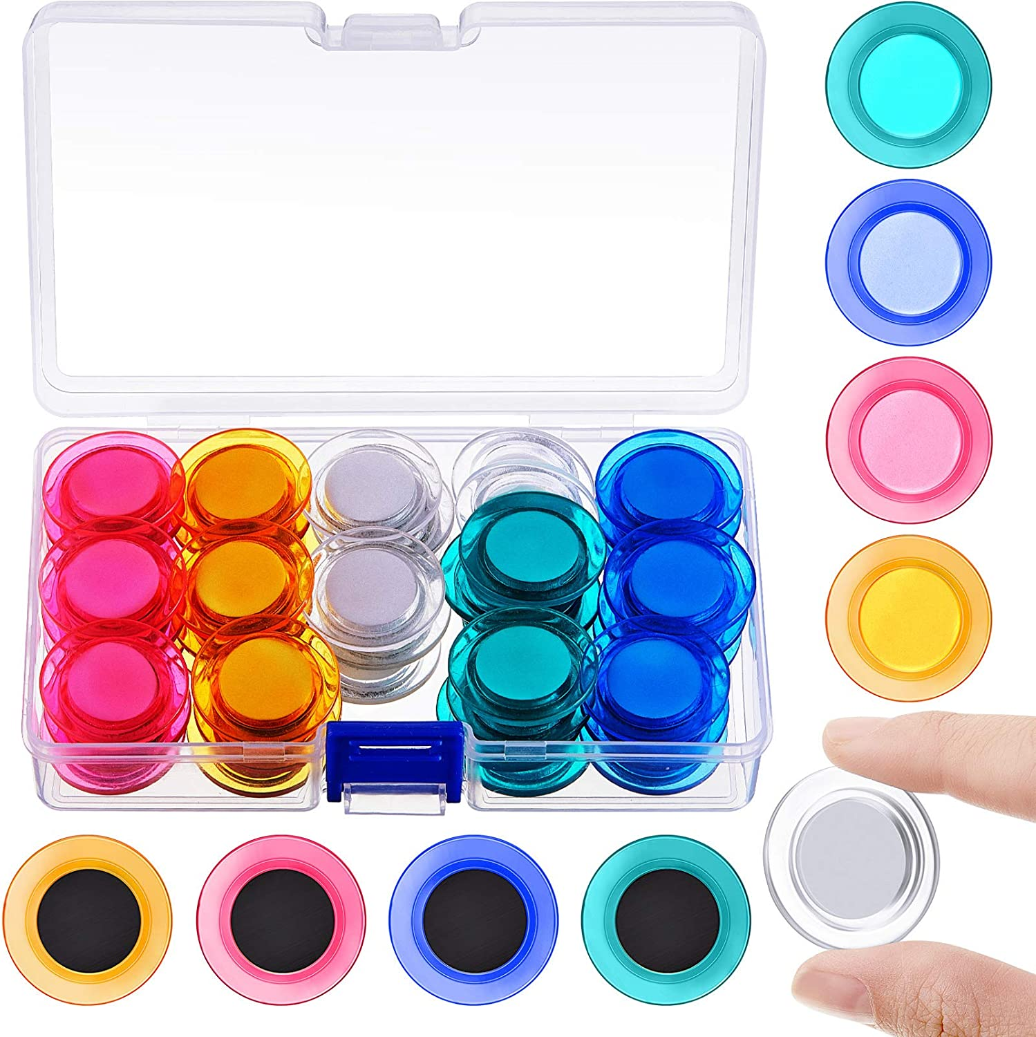 45 Pieces Round Magnets Circle Whiteboard Magnets Mini Fridge Magnet for Home Schools Offices (Assorted Colors)