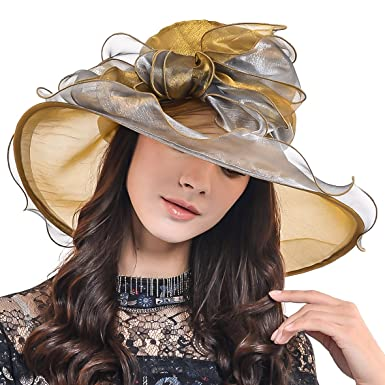0d93afd0708 HISSHE Women Church Wide Brim Organza Derby Hat Large Bow S039 (Champagne)