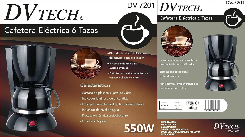 DVTECH DV7201 CAFETERA ELECTRICA 6 TAZAS: Amazon.es: Hogar