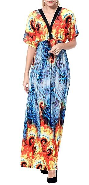 Wantdo Vestido Maxi Largo Estampado Verano Cuello V para Mujer de Playa Estilo Bohemo Talla Extra: Amazon.es: Ropa y accesorios